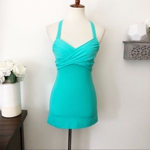 Lululemon fitted open racerback tank top teal 6